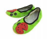 School Slippers Green with Ladybug