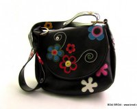 Handbag Olivia Black with Flowers