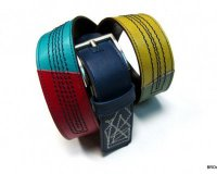Leather Belt Colourful with Stitches