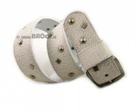 Leather Belt Kiri White with Metal