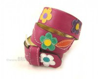 Leather Belt Kiri Fuchsia with Flowers