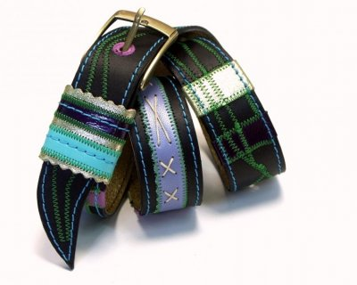 Leather Belt Kiri Black with Green Stitches