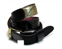 Leather Belt Kiri Black with Gold