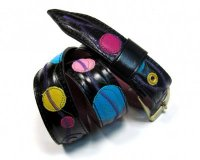 Leather Belt Kiri Black with Colourful Dots
