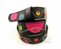 Leather Belt Kiri Black with Circles
