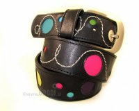 Leather Belt Kiri Black with Circles and Stitches
