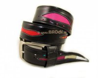 Leather Belt Kiri Black with Colourful Stripes