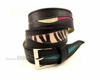 Leather Belt Kiri Black with Waves