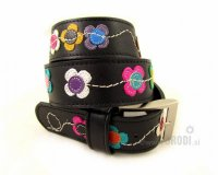 Leather Belt Kiri Black with Little Flowers