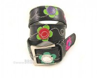 Leather Belt Kiri Black with Flowers