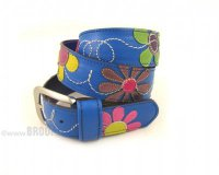 Leather Belt Kiri Blue with Flowers