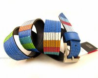 Leather Belt Kiri Blue with Colours