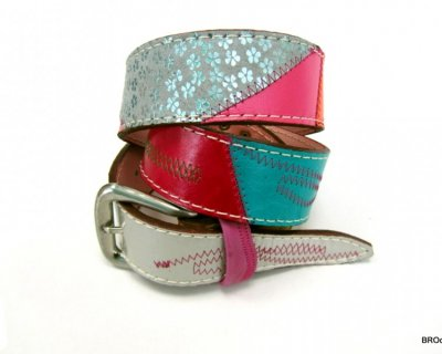 Leather Belt Kiri Colourful with Stitches