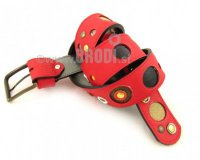Leather Belt Kiri Red with Black and Gold Dots