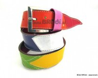 Leather Belt Kiri Red with Pink Strap