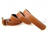 Leather Belt Kiri Brown with Stitches