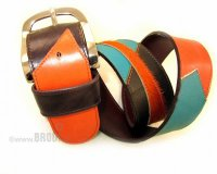 Leather Belt Kiri Brown with Orange