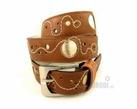 Leather Belt Kiri Brown with Gold