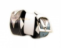 Leather Belt Kiri Black and White with Silver