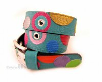 Leather Belt Kiri Turquoise with Circles