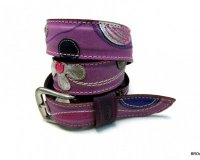 Leather Belt Kiri Violet with Dots