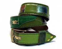 Leather Belt Kiri Green Stripes