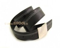 Leather Belt Black with White Stitches