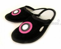 Leather Slippers Classic Black with Circles