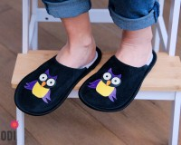 Leather Slippers Classic with Owl