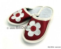 Leather Slippers Classic with White Flower