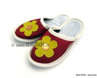 Leather Slippers Classic with Flower
