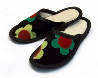 Leather Slippers Classic Black with Flower