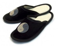 Leather Slippers Classic Black Jing Jang
