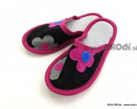 Leather Slippers Classic Black with Pink Flower