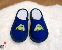 Leather Slippers Classic Blue with Car