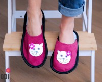 Leather Slippers Classic Pink with Cat