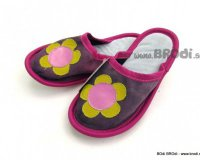 Leather Slippers Classic Violet with Flower