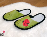 Leather Slippers Classic Green with Ladybug