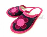 Leather Slippers Classic Pink and Blue