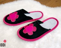Leather Slippers Classic Pink with Flower