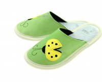 Leather Slippers Classic Green